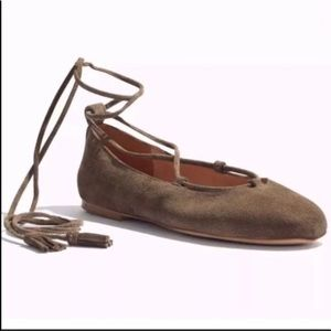 Madewell Inga Lace-up Flat In Suede brown 9.5